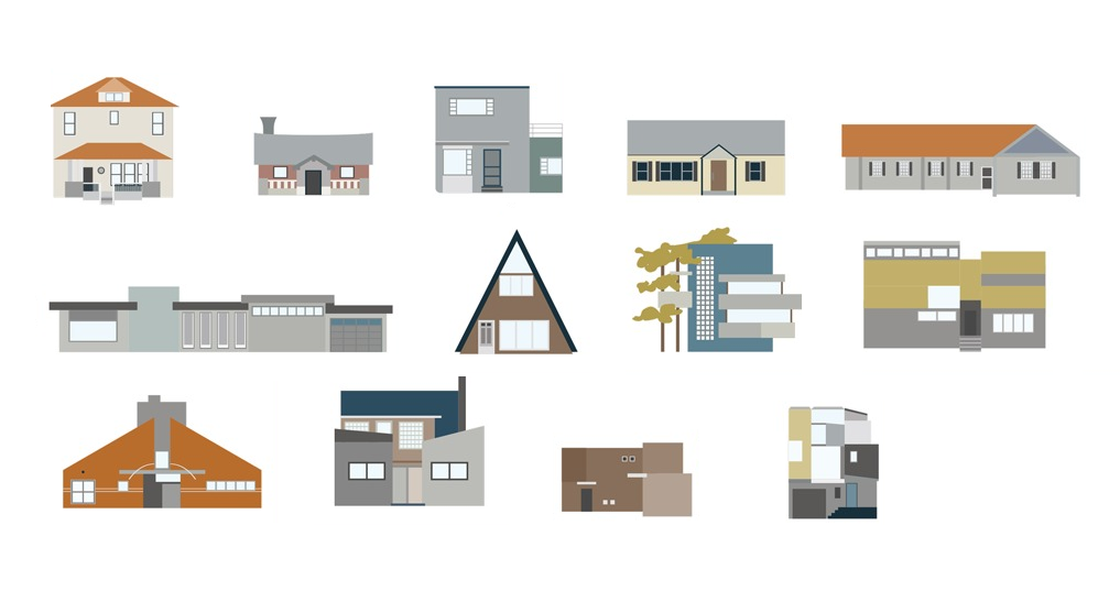 How many modern architectural styles can you identify for Main architectural styles